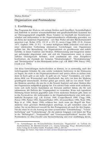 Organisation und Postmoderne – von Markus Reihlen