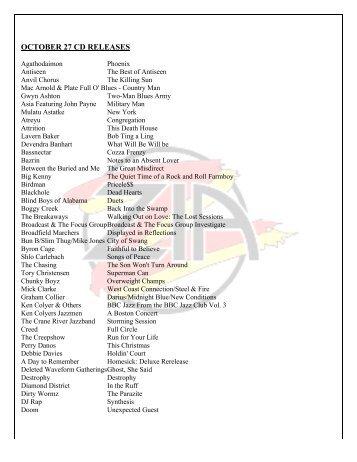 OCTOBER 27 CD RELEASES - Zia Records