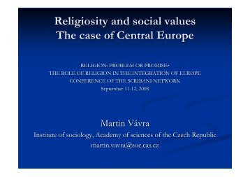Religiosity and social values The case of Central Europe