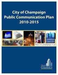 City of Champaign Public Communication Plan 2010-2015