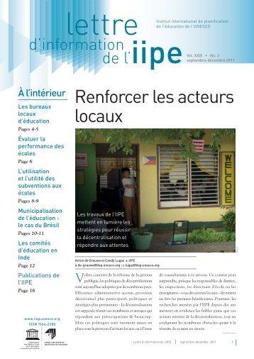 Renforcer les acteurs locaux - IIEP - Unesco