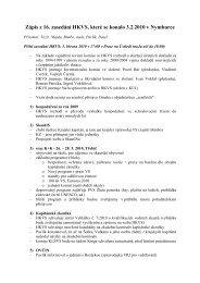 Zápis z 16. zasedání HKVS, které se konalo 3.2.2010 v Nymburce