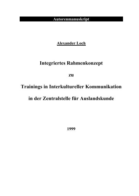 Integriertes Rahmenkonzept zu Trainings in Interkultureller ...