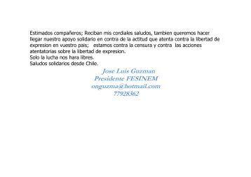 Jose Luis Guzman Presidente FESINEM onguzma@hotmail.com ...