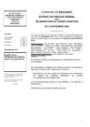 Délibérations 10 novembre - Baccarat