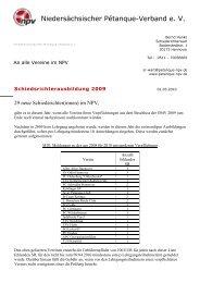 Schreiben an die Vereine - Niedersächsischer Pétanque-Verband