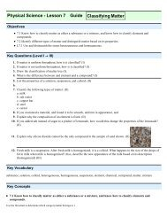 Physical Science - Lesson 7 Guide Classifying Matter