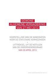 GEWONE ALGEMENE VERGADERING VAN 27 MEI 2013 - Sabam