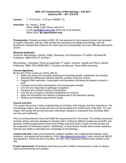 BIOL 351 Fundamentals Of Microbiology Texas A M University