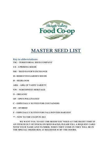 COMPLETE list,includes Vegetables,Flowers,and Herbs