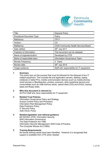 Disposal Policy - the Royal Cornwall Hospitals Trust website...