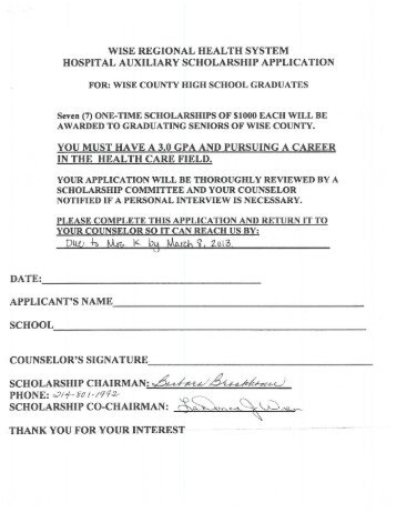 wise regional health system hospital auxiliary scholarship application