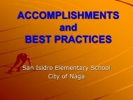 ACCOMPLISHMENTS and BEST PRACTICES - DepEd Naga City
