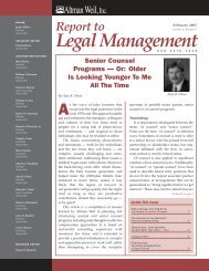 Senior Counsel Programs - Or Older is Looking ... - Altman Weil