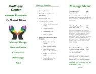 Wellness Center Massage Menu: - Dynabody Fitness Club