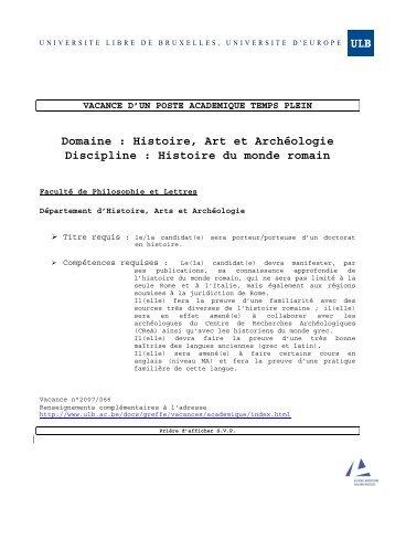 Histoire du monde romain - Université Libre de Bruxelles