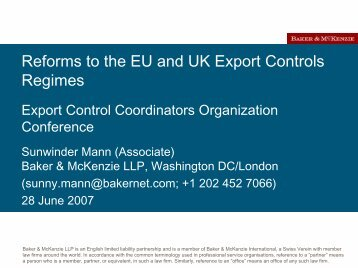 Reforms to the EU and UK Export Controls Regimes