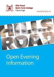 oPEN EVENiNG iNfoRmatioN - Hills Road Sixth Form College