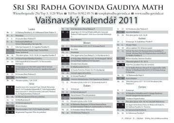 textový kalendář 2011 v češtině - Sri Sri Radha Govinda Mandir