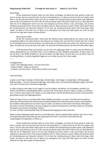 Pfingstsonntag 19.Mai 2013 // Predigt von Theo Enzner // 4.Mose 11 ...