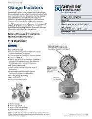 SG Series Gauge Isolators - PVC, PP, PVDF - Temp-Press Inc