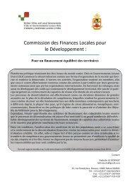 Commission des Finances Locales pour le Développement : - UCLG