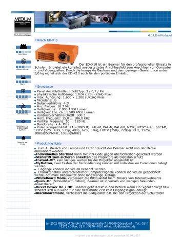 4.0 Ultra-Portabel Hitachi ED-X10 Der ED-X10 ist ein Beamer für ...