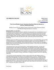 FOR IMMEDIATE RELEASE Media Contact - Bladder Cancer ...