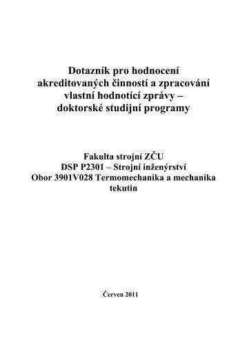 Dotazník pro hodnocení akreditovaných činností a ... - Fakulta strojní
