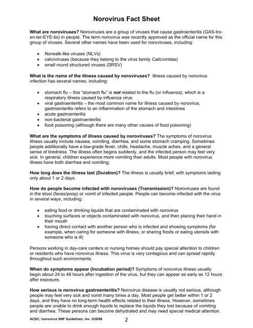 Norovirus Fact Sheet - Department of Public Health