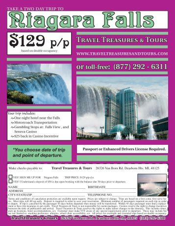 129 p/p - Travel Treasures & Tours