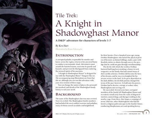 Tile Trek: A Knight in Shadowghast Manor - Wizards of the Coast