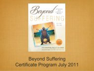 Beyond Suffering Certificate Program July 2011