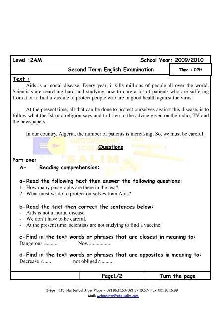 Level :2AM School Year: 2009/2010 Second Term English