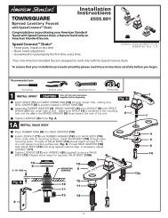 Installation Instructions TOWNSQUARE - American Standard ProSite