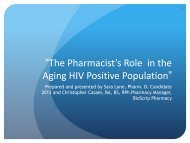 The Pharmacist's Role in the Aging HIV Positive Population