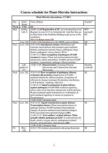 Course schedule for Plant-Microbe Interactions - BIG