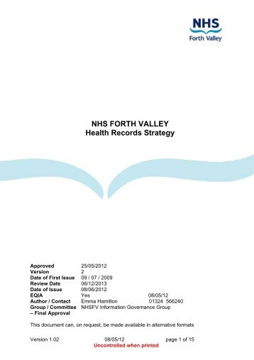 NHS FORTH VALLEY Health Records Strategy