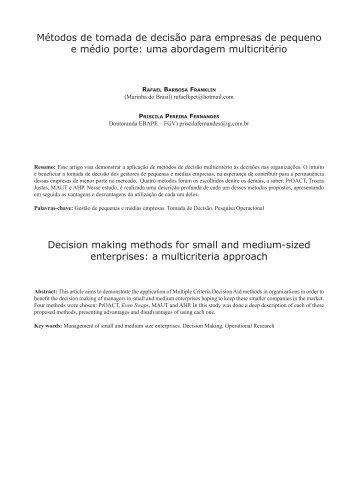 Métodos de tomada de decisão para empresas de pequeno e ...