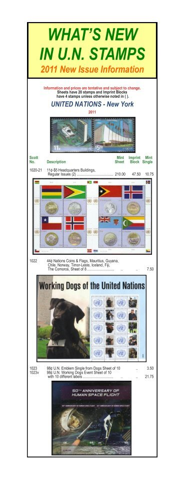 WHAT'S NEW IN U.N. STAMPS - Brookman Stamp Company