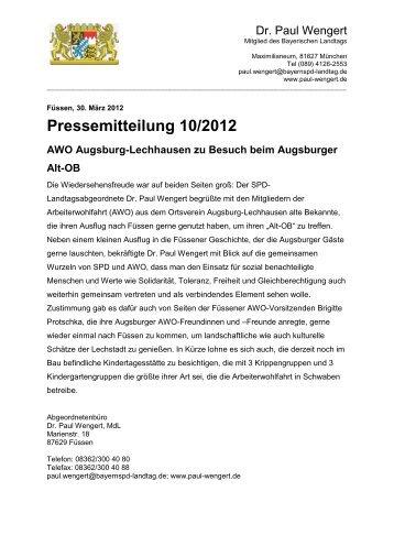 PM 102012AWO Augsburg-Lechhausen zu ... - Dr. Paul Wengert