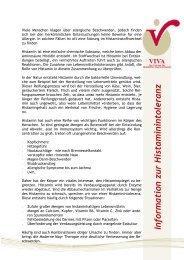 Information zur Histaminitoleranz - VIVA - Das Zentrum für Moderne ...