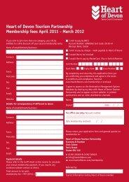 Heart of Devon Tourism Partnership Membership fees April 2011 ...