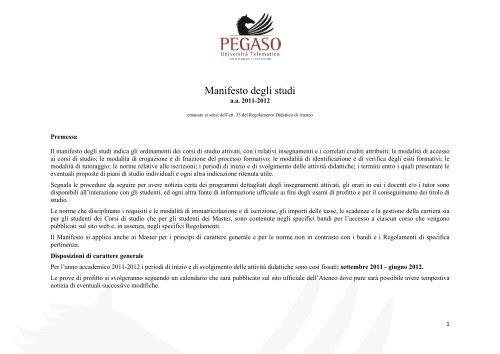 Calendario Esami Unipegaso.Manifesto Degli Studi Universita Telematica Pegaso