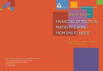 Financing of Political Parties in Europe: From Sins to Needs