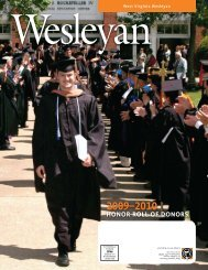 Honor roll of Donors - West Virginia Wesleyan College