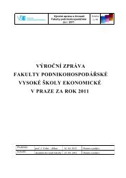 Výroční zpráva fakulty za r. 2011 - Fakulta podnikohospodářská