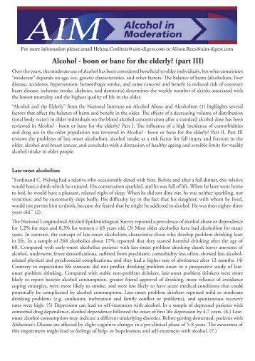 Alcohol - boon or bane for the elderly? (part III) - AIM