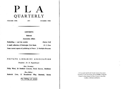 Vol 1 Number 2 - The Private Libraries Association