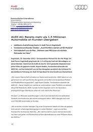 AUDI AG: Bereits mehr als 1,5 Millionen Automobile an Kunden ...